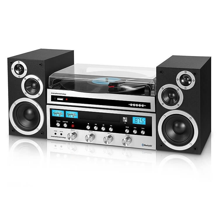 Classic Retro Bluetooth Stereo System with CD Player, FM Radio, Aux-In, and Headphone Jack and Turntable